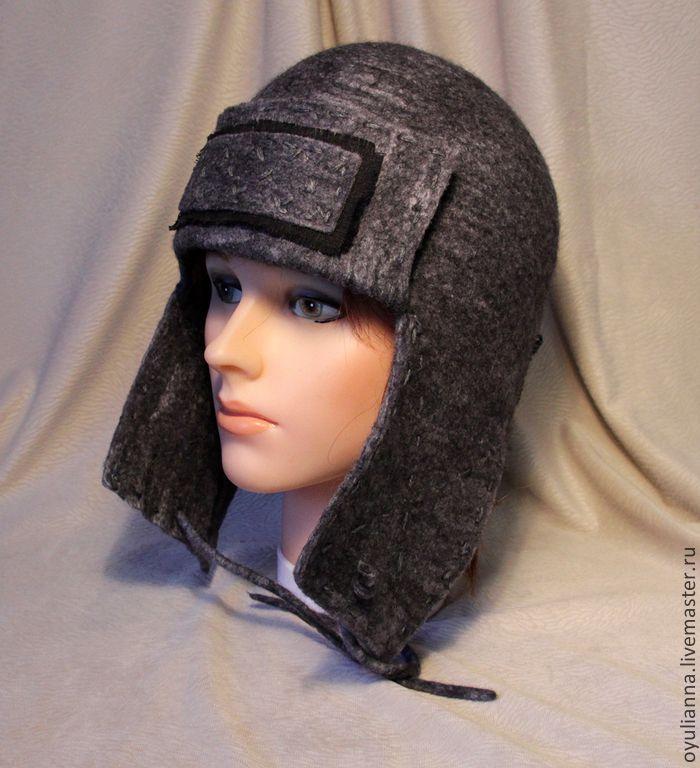 В продаже  Шапка-ушанка валяная мужская, женская, unisex. - тёмно-серый, однотонный, шапка валяная