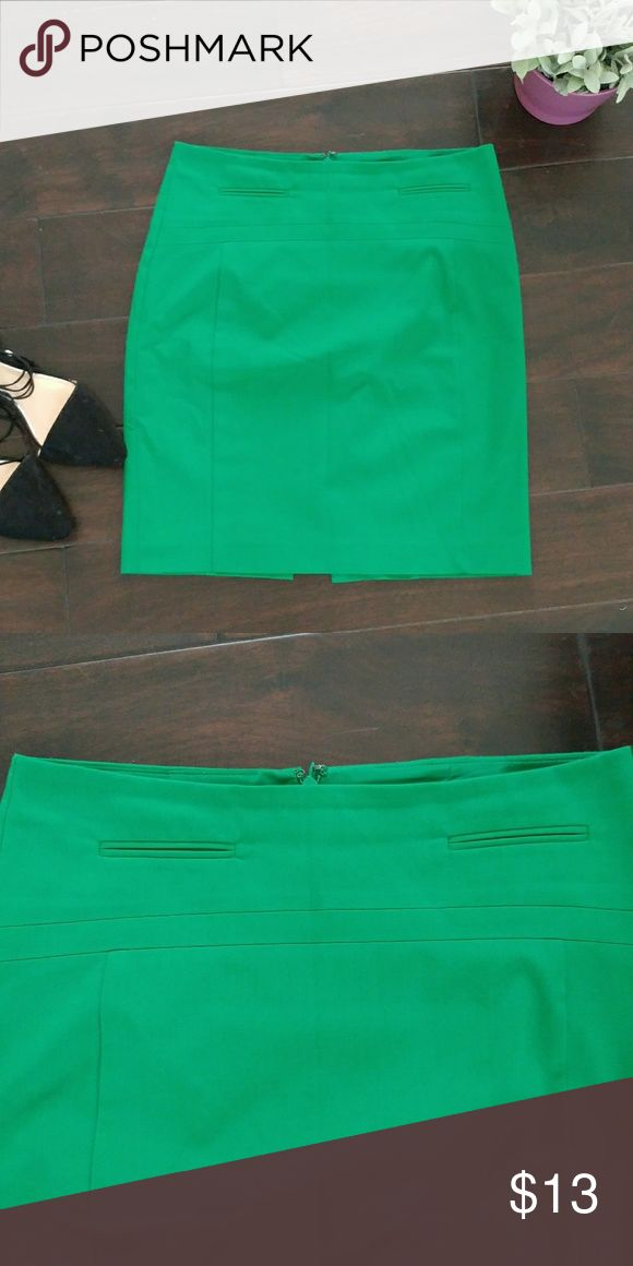 Express green pencil skirt sz 2 Pencil skirt by Express. Great for the office!  Used condition. Slight color fading. No rips or stains or tears. Express Skirts Pencil