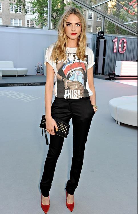 Love the idea of fancy punk: Graphic Tee + Black Dress Pants + Sharp Heels
