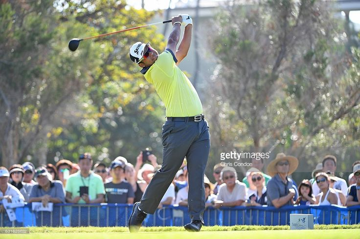 Hideki Matsuyama of Japan tees off on the first hole during the second round of the Sony Open in Honolulu, Hawaii at Waialae Country Club on January 13, 2017 in Honolulu, Hawaii. (Photo by Chris Condon/PGA TOUR)