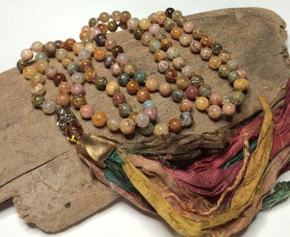 Tassel Necklace - Boho Long Beaded Necklace Sari Silk Tassel Knotted Necklace Gemstone Necklace Fall Colors Bohemian Necklace by Loveandlulu