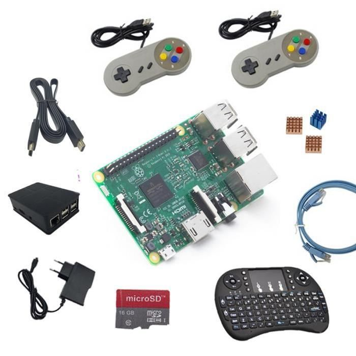 ★Raspberry Pi 3 Modèle B 1Go / GB RAM, WLAN, BT Dernières 2016, avec 1.2GHz 64-bit quad-core ARM Cortex-A53 CPU (~ 10x la performance de Raspberry Pi 1) ★2 morceaux de console de jeu ★5v/2.5 Adaptateur ★1,5 mètre ligne HDMI