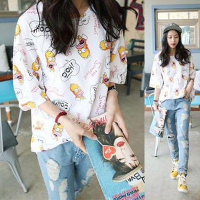 原宿系韓国ファッションシンプソンプリントTシャツ