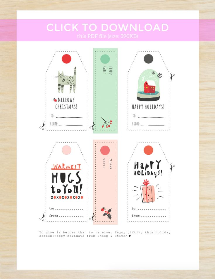 Free Printable Gift Tags for Knitters   http://sheepandstitch.com/free-printable-gift-tags-for-knitters/