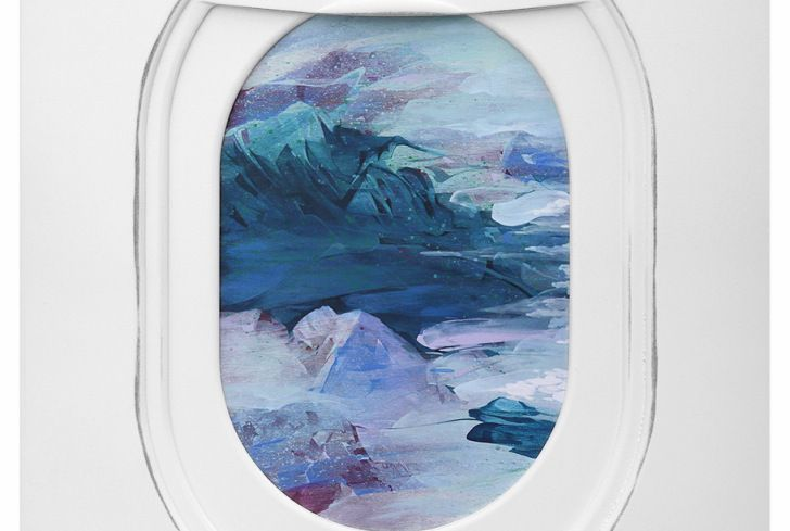 Landscape painted through the eye of an airplane window by Jim Darling.
