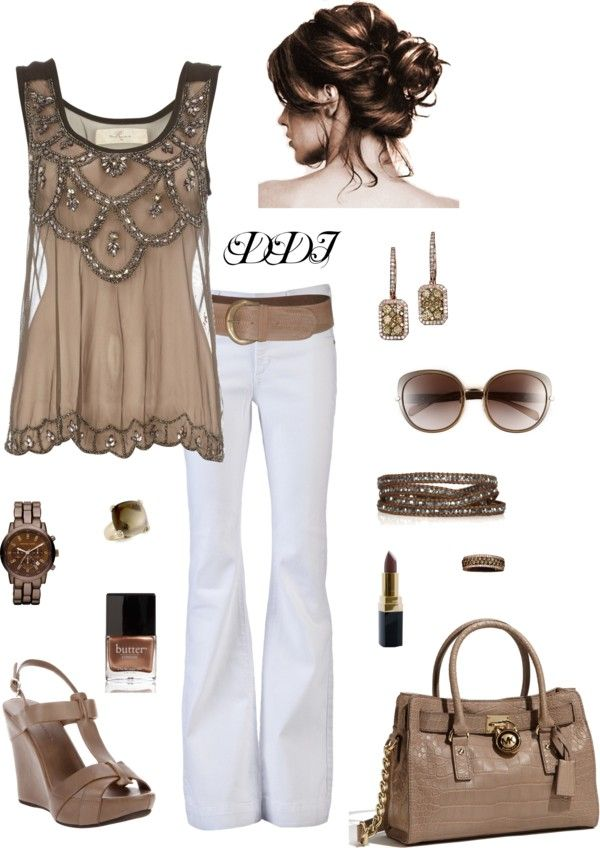 """""""Taupe and White"""" by dawndayiannelli on Polyvore"""