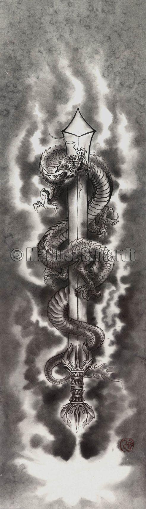 Original japanese sumi-e handmade art KURIKARA Fudo Myo-o DRAGON SWORD ink painting artist Mariusz Szmerdt watercolor black white grey
