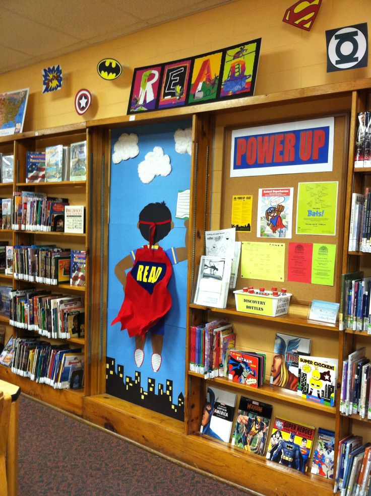 Power Up...Read! display at the Mt. Healthy branch library. Look at that cape blowing in the wind!