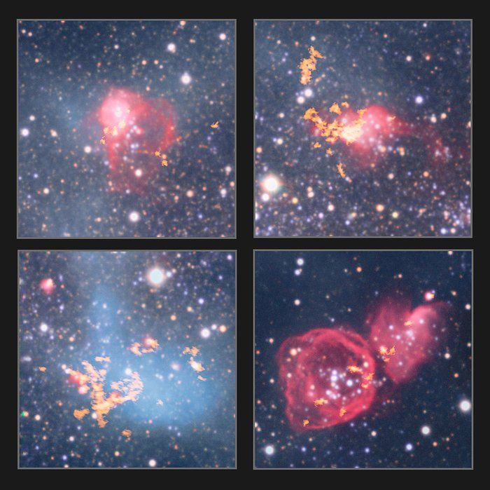 This montage shows four star-forming gas clouds in NGC 6822, a barred irregular dwarf galaxy, about 1.6 million light-years away.  The observations were made with the Wide Field Imager attached to the 2.2-metre MPG/ESO telescope at ESO's La Silla Observatory, the Very Large Array and by the Atacama Large Millimeter/submillimeter Array (ALMA).