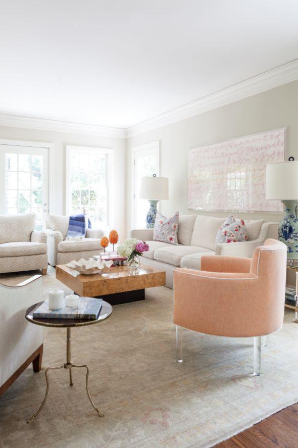 Love this chair with lucite leg www.collins-interiors.com | blueprintstore.com/blog