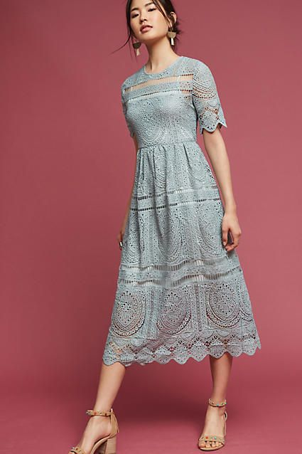 Eri & Ali mint lace midi dress @ Anthropologie - beautiful dress for summer wedding. Boho Chic! (affiliate)