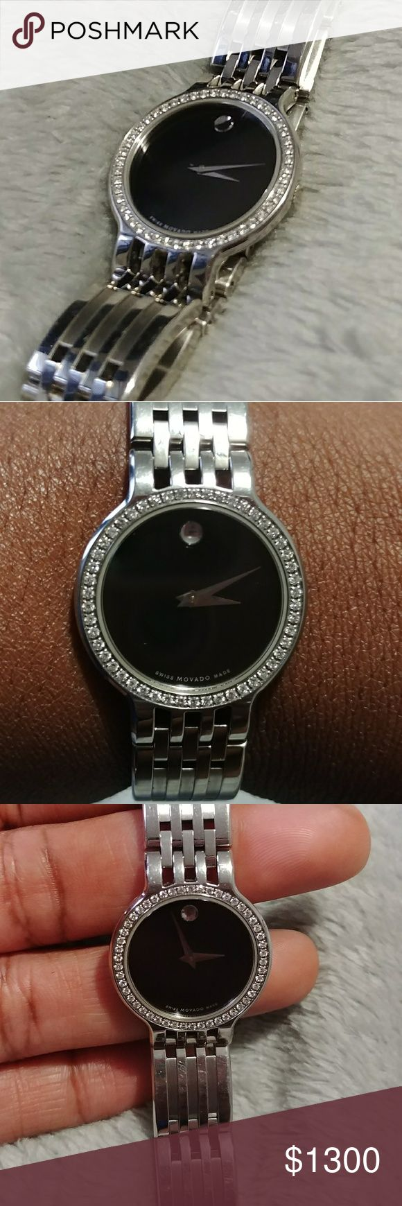 Diamond face Movado watch Beautiful pre owned Diamond bezel, has normal wear...great condition this is truly a statement piece. Movado Jewelry