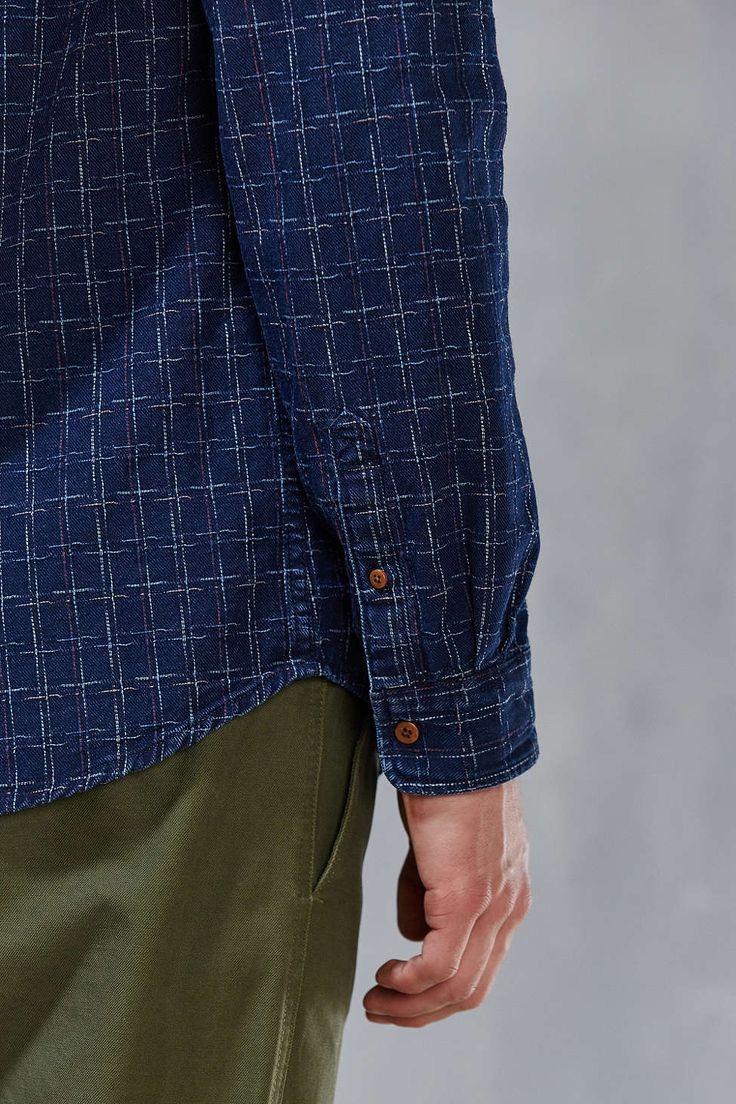 Lacoste Handväskor : Cpo indigo plaid dobby button down shirt urban
