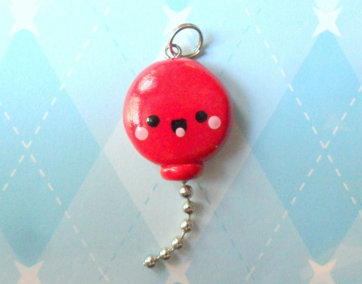 Kawaii Charm Red Balloon Cute Charm Kawaii Polymer Clay Jewelry. $6.00, via Etsy.