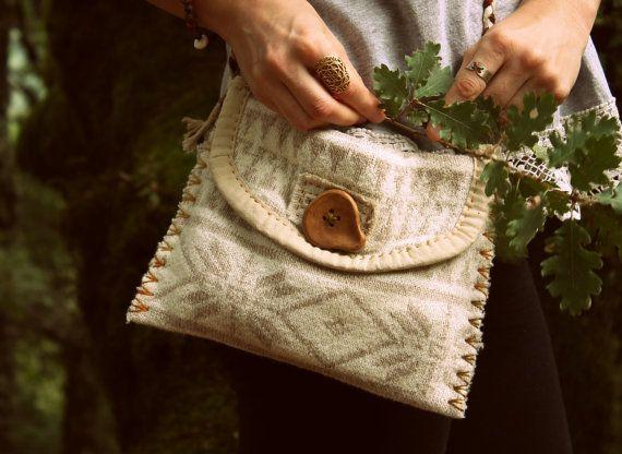 Recycled sweater bag hand sewn with handmade by JaraKacaHandmade