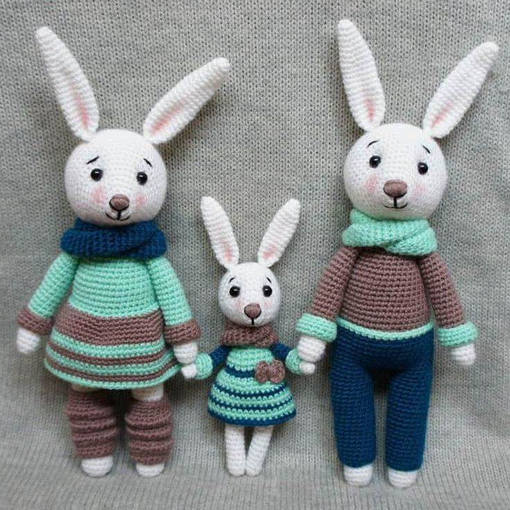 If you want an interesting bunny pattern, have a look at this one. It can help you to crochet a whole bunny family. Let's create these cute crochet toys!