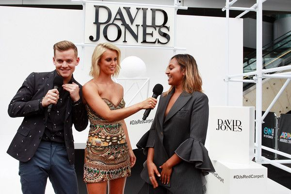 David Jones hosts Joel Creasey and Olivia Phyland speak with Jessica Mauboy ahead of the ARIA Awards 2015 at The Star on November 26, 2015 in Sydney, Australia.