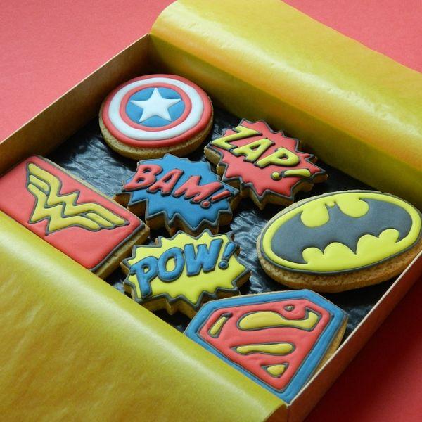 Superheroes Gift Box - Medium Superheroes Gift Box : Campervan Cookies, Delicious handmade and bespoke cookies