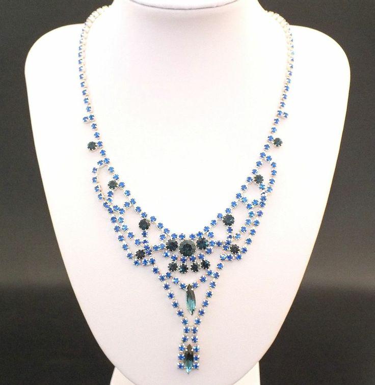 Strass Collier - Crystal/Saphirblau - 1A-Qualität aus Gablonz/Böhmen - sc247