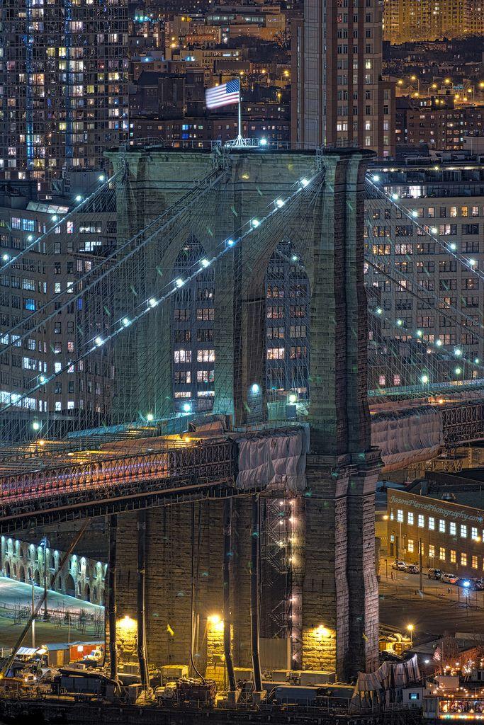 NYC. Brooklyn Bridge Close up