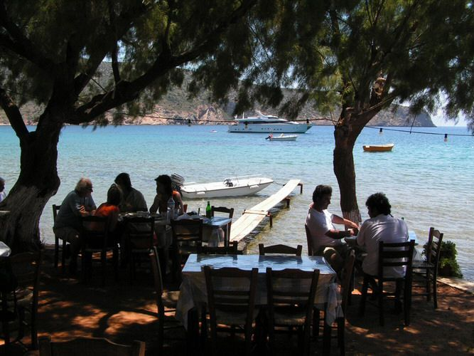 """""""Me to meraki tou Manoli"""", a lovely little taverna in Vathy, Sifnos. Table on the left was ours"""