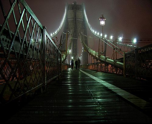 """https://flic.kr/p/4LVXQr   That Night  (continued)   As the sodium pentathol began to wear off,  I realized that I was lying on a wet walkway  high up on the Brooklyn Bridge. Why had I ever trusted her? The bridge was draped in a cold mist, and three figures were approaching fast...  (keep scrolling on the """"original"""" size, I posted this one kinda big)"""