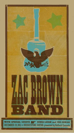 Zac Brown Band, 3-color letterpress show poster, 2011
