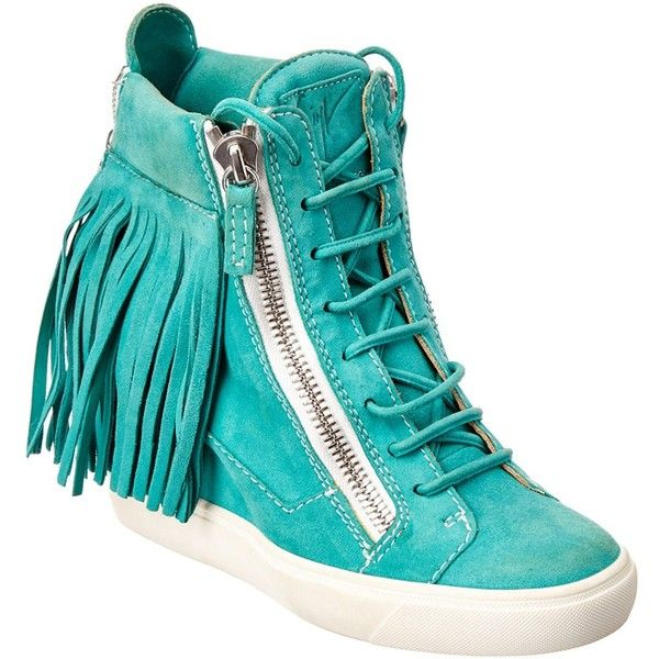 Giuseppe Zanotti Giuseppe Zanotti Suede Fringe High Top Wedge Sneaker... ($375) ❤ liked on Polyvore featuring shoes, sneakers, green, high heeled footwear, high-top sneakers, suede shoes, suede high top sneakers and giuseppe zanotti sneakers