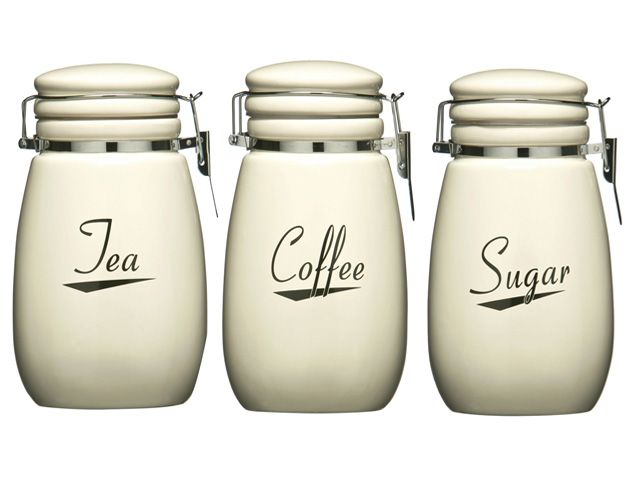 Details about cream coronet kitchen ceramic storage canisters jars set tea coffee sugar bread - Modern tea and coffee canisters ...