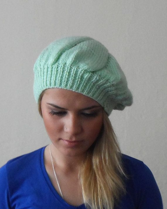 mint green hat cap circle green bonnet headgear by DamlaScarf