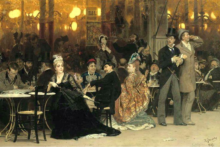 A Parisian Cafe by Ilia Efimovich Repin - 1875