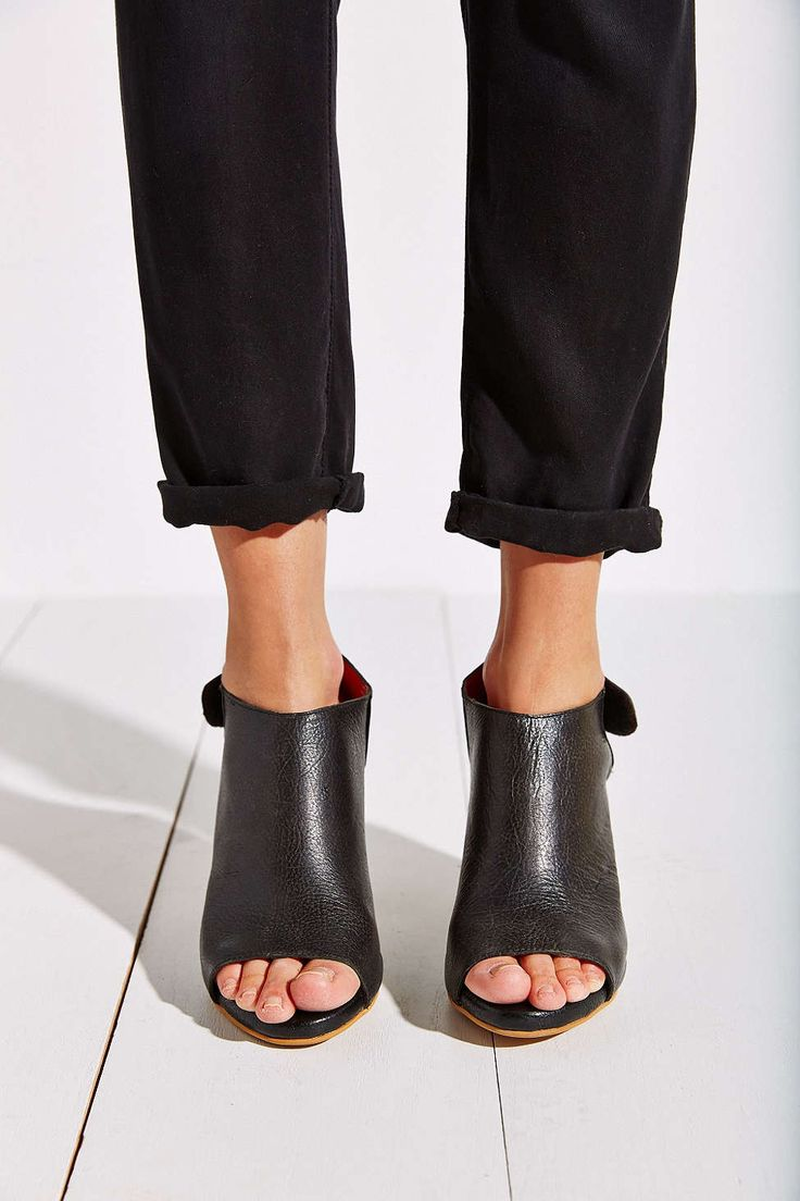 soft black leather mules