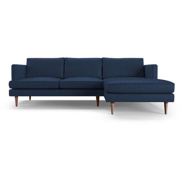 Leather Sleeper Sofa Joybird Preston Mid Century Modern Blue Leather Sectional liked on Polyvore featuring