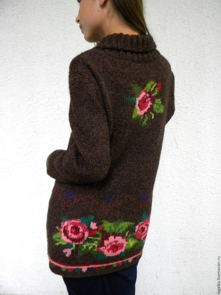 """Купить Жакет вязаный с вышивкой""""Осенние розы"""". - коричневый, Жакет вязаный, пальто вязаное, кардиган вязаный"""