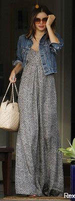 maxi dress and jean jacket