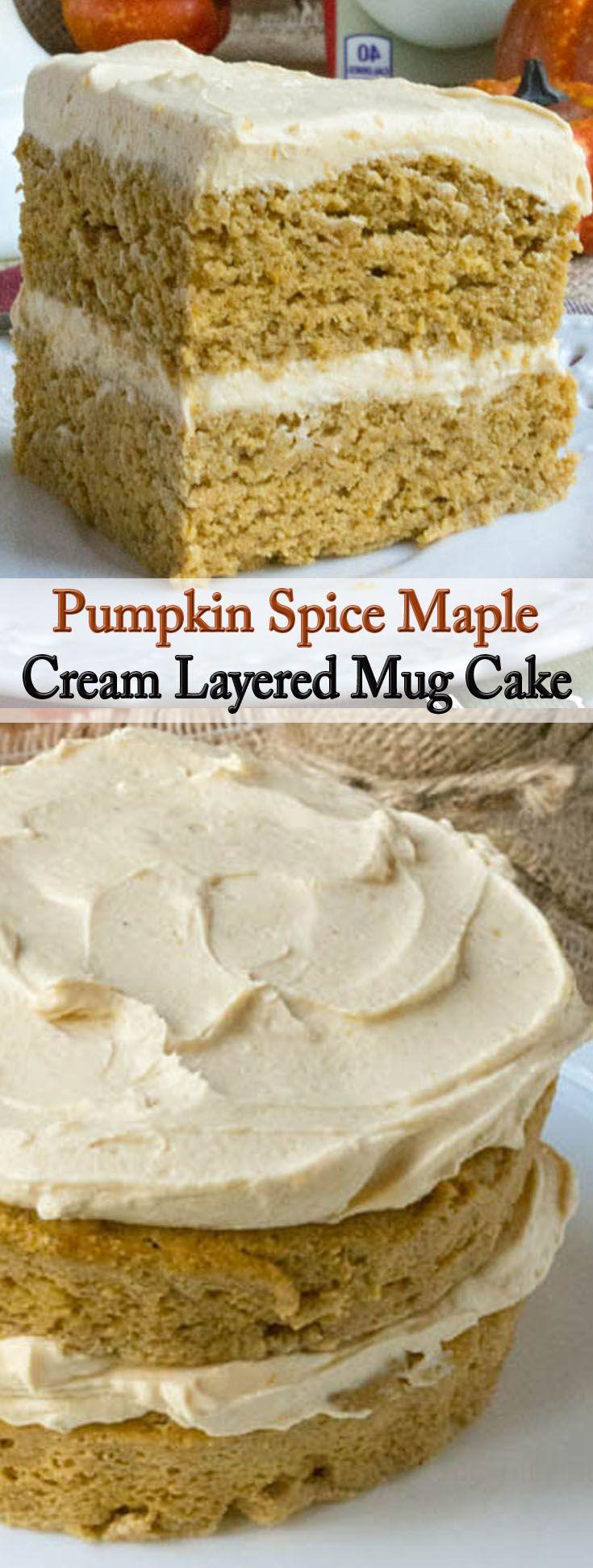 Pumpkin Spice Maple Cream Layered Mug Cake