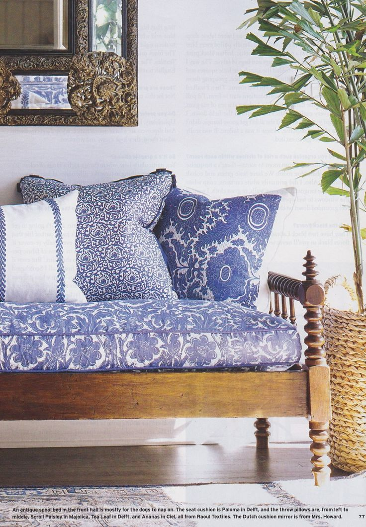 Charming bench and blue and white accents.