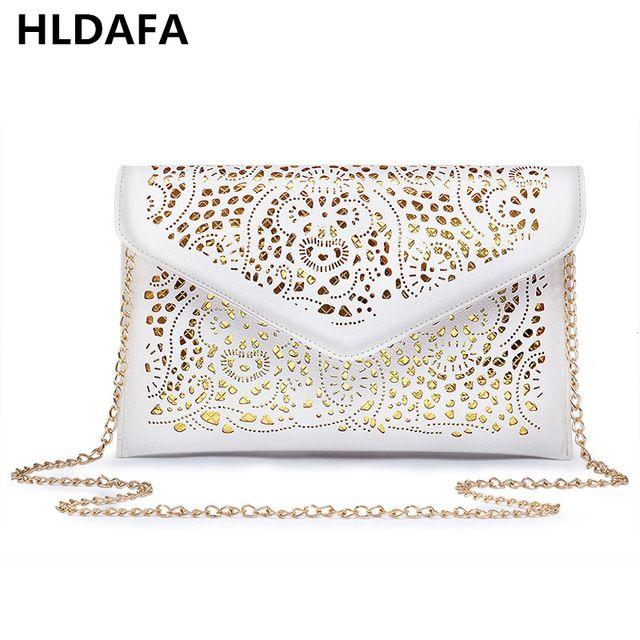 Hot Discount $5.40, Buy 2017 Vintage Hollow Out Envelope Bag Small Women Leather Crossbody bag For girl Shoulder bag Messenger bag Clutch Handbag Purses