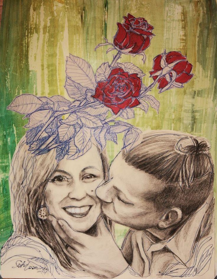 By: Satu Laaninen  Herkkupurkki: kollaasi pikkukimalainen.blogspot.com  drawing, portrait, kiss, love
