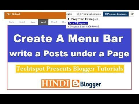 Create A Menu Bar In Blogger And Write A Posts Under A Page - Hindi Urdu