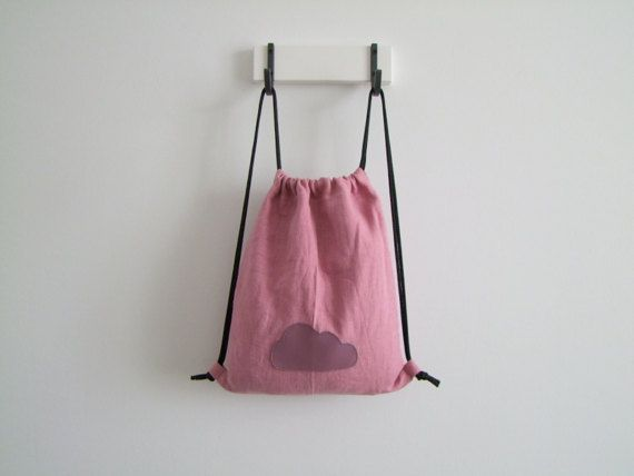 linen backpack pink for children gymbag with cotton by ESKAmuhely