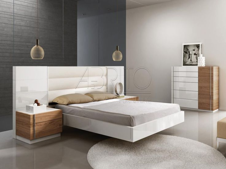 Furniture square brown wooden bedside table added by white wooden floating bed on round white rug minimalist floating bedside table as the additional furniture for your
