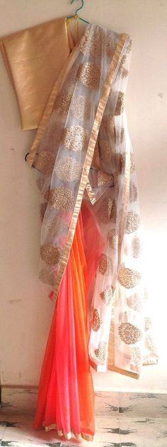 Embroidered net and pink and orange double shade chiffon half and half saree