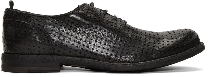 OFFICINE CREATIVE Black Perforated Ideal 23 Derbys. #officinecreative #shoes #flats