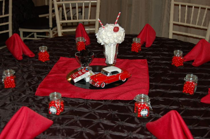 1950 39 s table decoration edible centerpiece diecast car for 50s wedding decoration ideas
