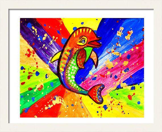 #DolphinPainting #PopArt #Digital #Print #NurseryPrint #AnimalArtPrint #NauticalArt by #JuliaApostolova