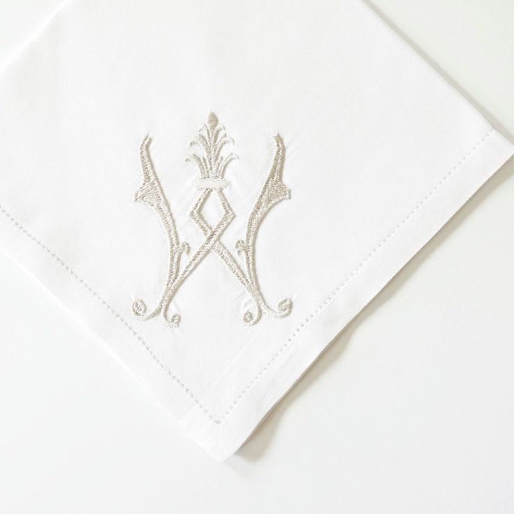 NEW vintage embroidery monogram design. Choice of 5 classic white thread colors or more than 25 other colors. Available for handkerchiefs, dinner napkins and linen hemstitched towels.