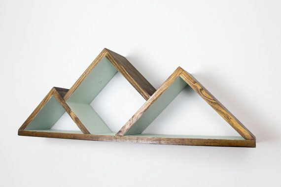 Geometric Mountain Shelf Shelves by GrainCustomWoodworks on Etsy