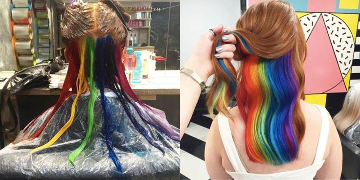 This #Hidden #Rainbow #Hair #Trend Can Make You Look Like a Snapchat Filter IRL   @Cosmopolitan