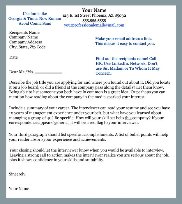 Sample Cover Letter A Great Starting Point For Your First Cover